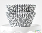Damask Gray GREASEPROOF Cupcake Liners BakeBright Baking Cups | ~30 count