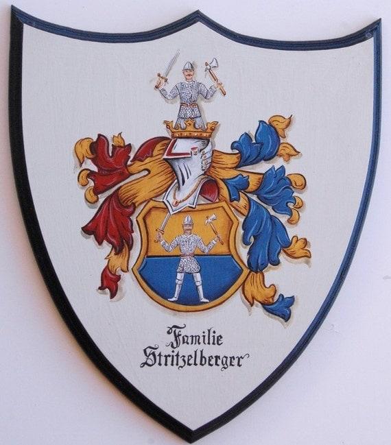 Custom Family Crest Plaque  - Coat of Arms Shield 14 x 17 Heraldry art