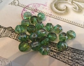 8mm Fern Green Flash Czech Glass Beads Fluted Melon Glass Beads 20 pcs.