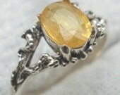 Natural Yellow Sapphire Mythological Stone Protector Ring, September birthstone, recycled silver