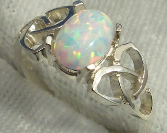 Celtic Triskel Ring, Synthetic Opal, October Birthstone, Hand Crafted Recycled Sterling Silver, handmade Celtic knot ring