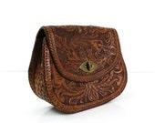 1960s Tooled Leather Purse / Clutch handbag