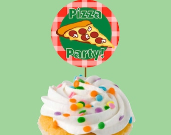 Instant Download Pizza Party Cupcake Toppers or Craft Circles