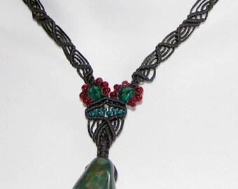 SALE: Green Jasper Handwoven Macrame Necklace