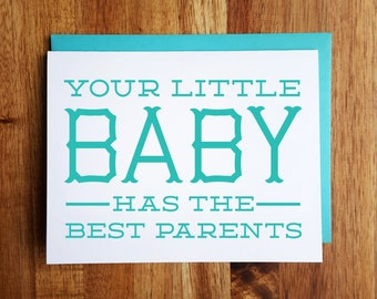 Funny Baby Card - Best Parents - Baby Shower - New Baby Congrats!