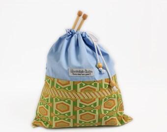 Knitting bag, drawstring bag, project bag, African fabric bag, African fabric drawstring bag, UK knitting shop