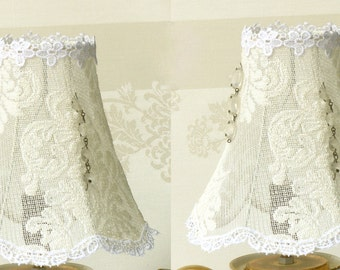 Set Cream white lace Lamp Shade, Shabby chic lamps, Bedroom lights, Lace Table lamps, Retro set bedroom lighting, Country French decor.