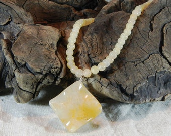 """Yellow aventurine agate necklace 18"""" long wavy diamond agate pendant semiprecious stone jewelry packaged in a gift bag 11653"""