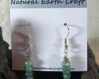 Ombre green emerald earrings rondelle emeralds May birth stone earrings gemstone jewelry 2460 C