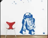 Star Wars WALL DECAL : R2d2 Droid Decal. Rebellion droid. With galaxy stars. Decor, vinyl, sticker. The Force awakens