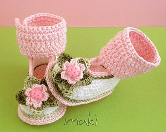APRIL baby booties crochet pattern - Cute pink ladybug - Perfect for your little princess. Full of large pictures! PDF Pattern No. 111