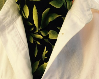 Ascot Tie Cravat.  Green foliage on black background.  100% cotton.  New