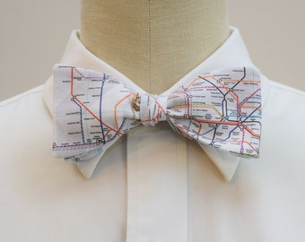 Men's Bow Tie in London Underground Map, self tie, London Tube map, Tube bow tie, London lover gift, England lover gift, British map bow tie