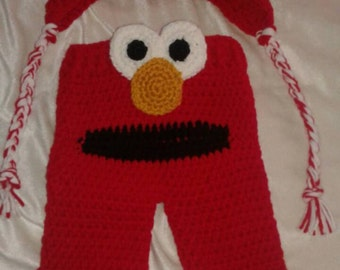 Red monster pants and hat set