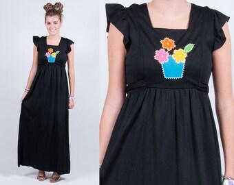 Vintage 1970s Black Maxi Dress w/ Floral Basket Flutter Sleeves * Boho Bohemian Hippie Gypsy * Size Small Medium * FREE SHIPPING