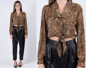 Vintage Leopard Print Crop Top * Black Tan Cheetah Animal Cropped Bow Blouse Front Tie * Versatile Fit * FREE SHIPPING