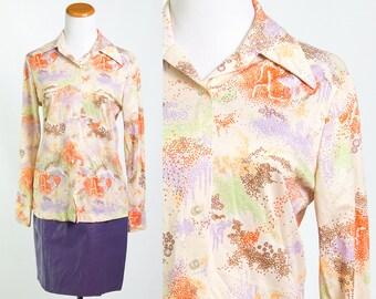 Vintage 70's Vanilla Cream Orange Purple Brown Lime Green Pointillism Print Disco Collar Shirt Blouse // Size Medium // FREE SHIPPING