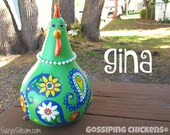 chickens, gourd art, paisley, painted gourds, chicken, gourd, hen, lime green, blue, orange