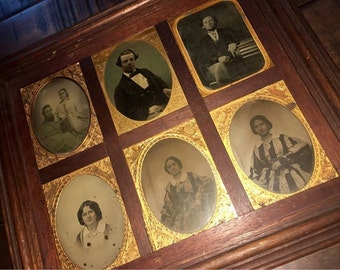 SIX Ambrotypes in Rare Antique Frame