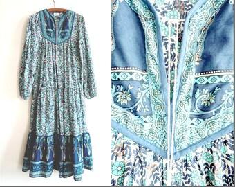 Vintage Indian Cotton Block Printed Hippie Dress