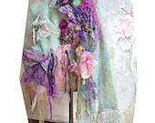 Wonderful Unique Art To Wear Soft Soft Mint Sweater Jacket UNDINE Forest Fairy Gipsy Boho Antoinette Tattered