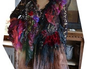 RESERVED Last Payment Unique Beautiful Art To Wear Jacket With Silks Silk Velvet The RED QUEEN Tattered Fairy Antoinette Boho Gipsy