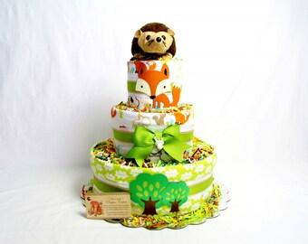 Woodland Animals Baby Diaper Cake Hedgehog or Fox Topper Shower Gift Centerpiece Boys Girls Neutral