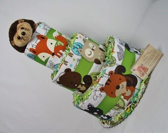 Woodland Animals Baby Diaper Cake Select Ribbon Color Shower Gift or Centerpiece