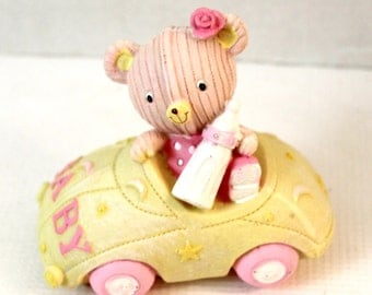 Baby Pink Teddy in Car Resin Decorative Figurine cake topper room decor pastel