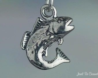 Sterling Silver Bass Fish Charm for Fisherman Fishing 3D Solid .925