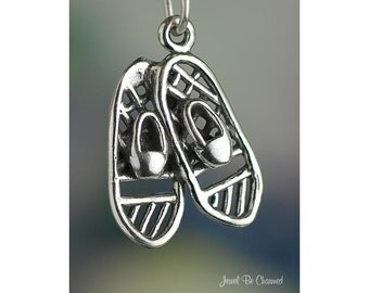 Sterling Silver Snowshoes Charm Winter Snowshoeing Snow 3D Solid .925