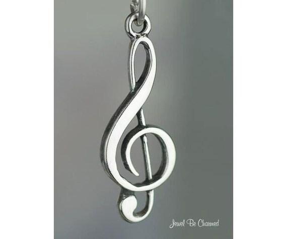 Treble Clef Charm Sterling Silver G Clef Musicians Sheet Music .925