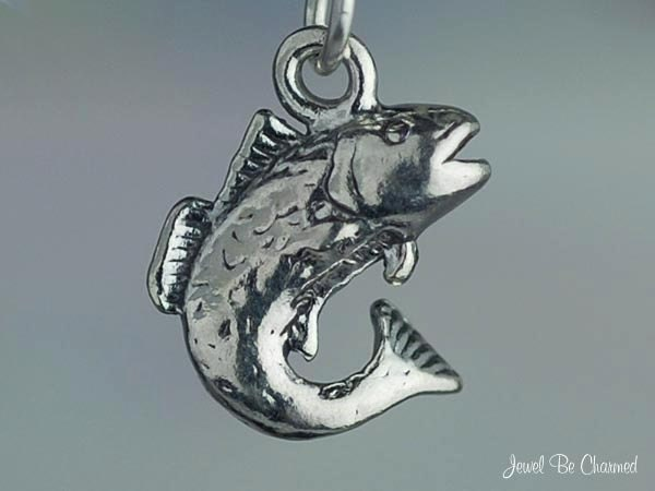 Sterling silver bass fish charm for fisherman fishing 3d for Silver bass fish