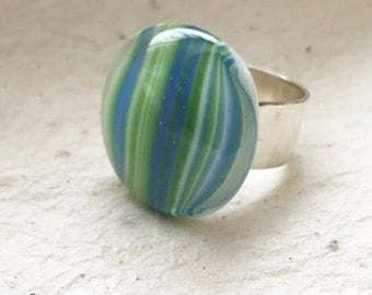 Women's Adjustable Ring, Women's Fused Glass Ring with Stripes