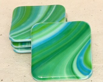 Colorful fused glass coaster set hot or cold beverage coasters