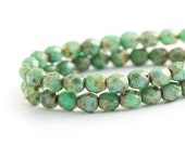 Turquoise Green Picasso Bead Spacers, Faceted Round Fire Polished Czech Glass (6mm) x 25