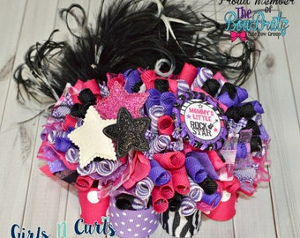 Ready To Ship Mommy's Little Rock Star Funky Loopy Boutique Bow