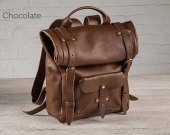 The Rolltop Leather Backpack - Chocolate