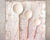 Ceramic Spoon small spoon serving Home Decor Handmade Collector in white Glaze salt sugar spoon