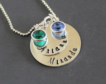 mothers necklace, Birthstone necklace, two disc, hand stamped, sterling silver, grandmother necklace, children names, personalize necklace