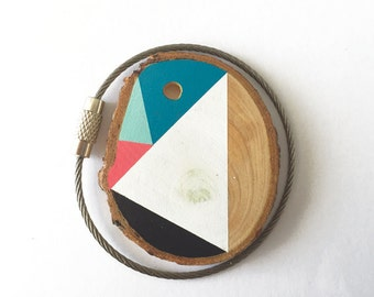 Pine wood keychain with stainless steel  wire option for cutom initial keyring , tones of pink, aqua  blue,mint geometric triangle shapes
