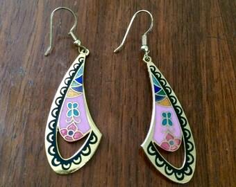 Vintage 80s Cloisonné Drop Earrings / Gold Pink Black Green Blue Mosaic / Fan Shape Flower Earrings