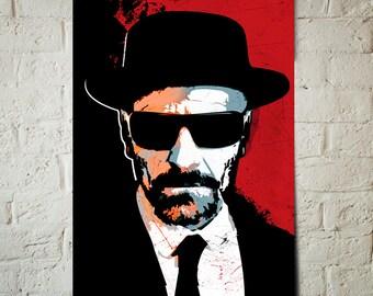 Breaking Bad Art - Heisenberg - Breaking Bad Poster, Fan Art illustration, Walter White, Art Print, Geekery Art, Man Cave, Movie Poster