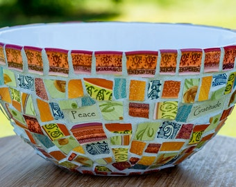 "Personalized Mosaic Blessing Bowl 10""x5"" MADE TO ORDER"