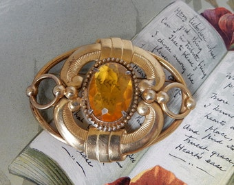 Arts & Crafts Oval Brooch w/ Amber Stones and Openwork Design    NCD12
