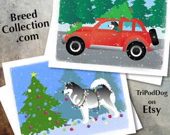 Alaskan Malamute Dog Christmas Cards from the Breed Collection - Digital Download  Printable