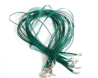 15 pcs. Dark Green Organza Ribbon Waxen Cord Necklaces with Lobster Clasp - 17 inch (43 cm) - Claw Clasp and Extender Chain