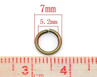 100 pcs Antique Bronze Open Jump Rings - 7mm - 16 Gauge - THICK - High Quality