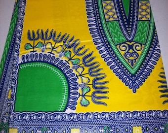"33""x47"" Yellow Green dashiki fabric Per Panel/ Angelina fabric/ Addis Ababa fabric/ Dashiki/dashiki dress/ Dashiki skirt #YD202"