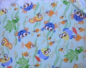 2 Yards Whimsical Sea Creatures Flannel Fabric